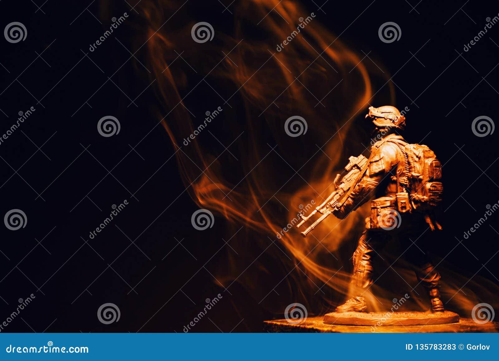Soldier figure smoke dark background