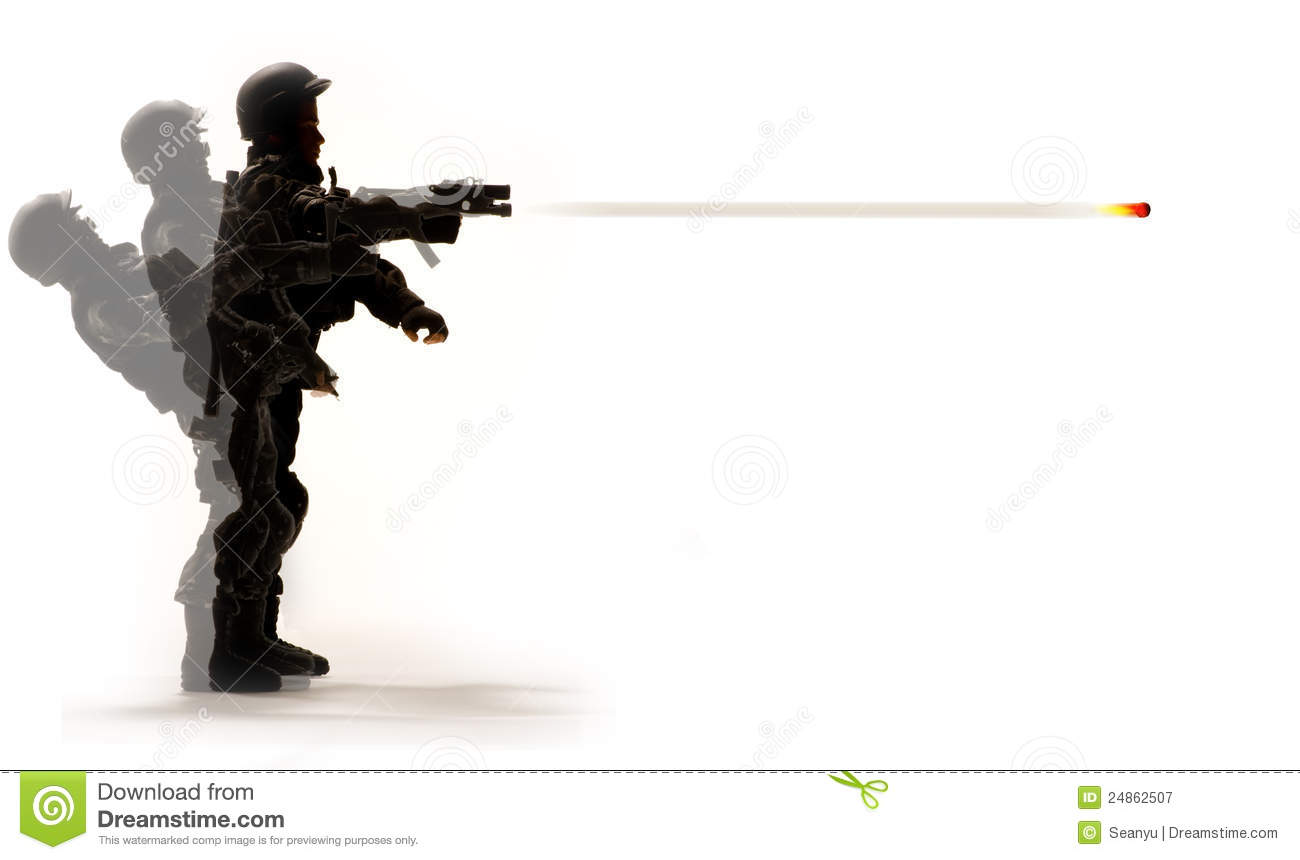 Soldier firing gun stock image. Image of isolated ... Soldier With Gun Cartoon