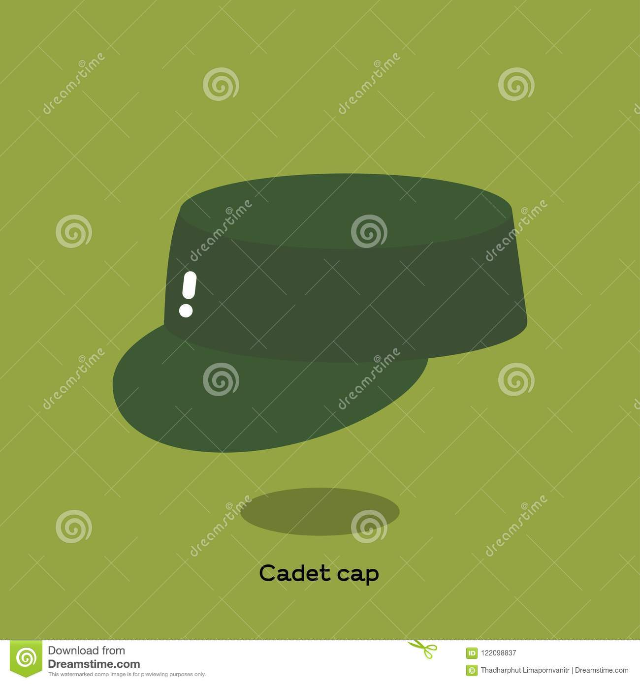 3e5db845e1a949 Green olive canvas cadet cap on light green background. It is a soft kepi  with flat top, round visor and it is also called patrol cap or field cap.