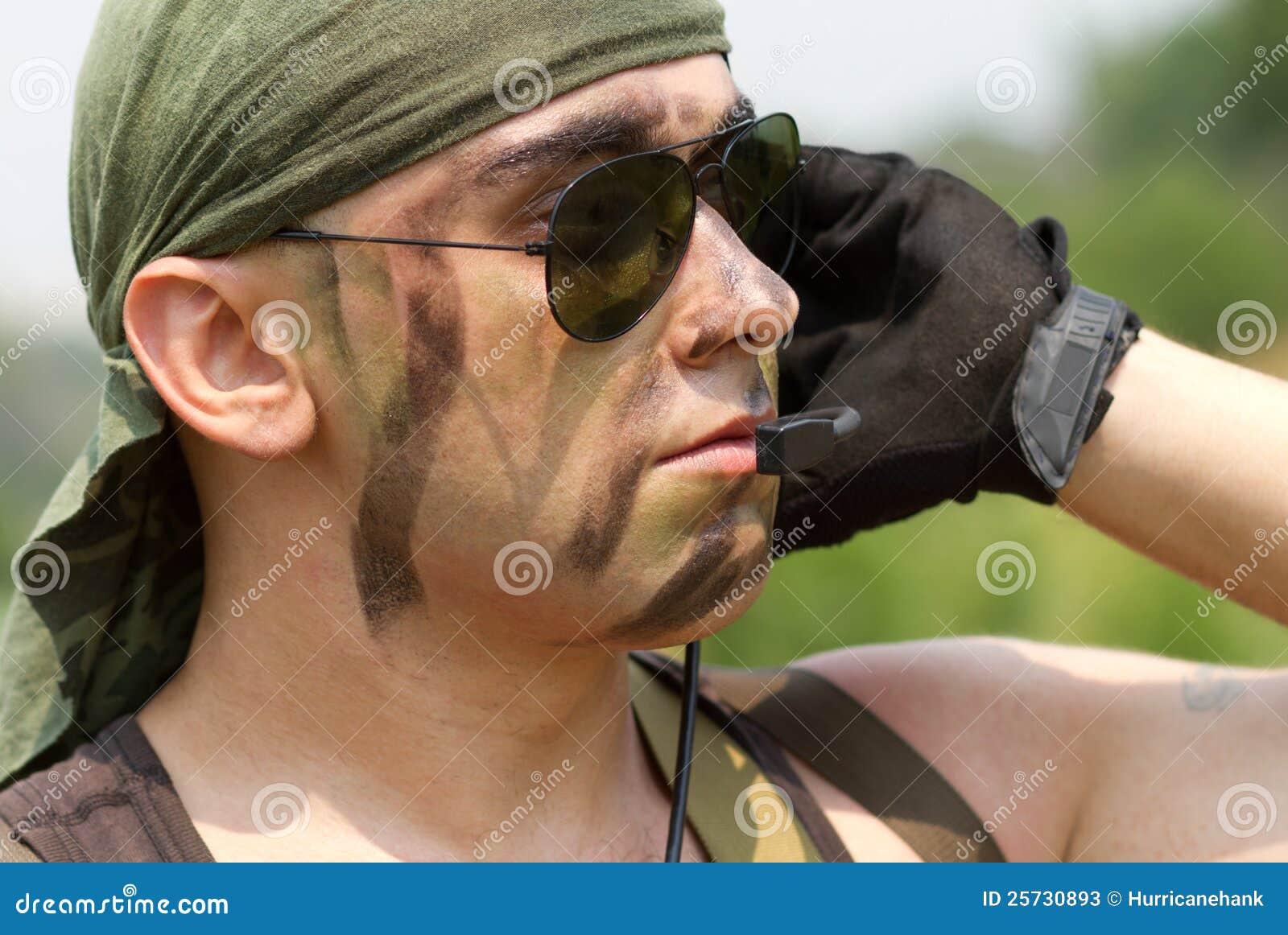 Soldier in a headset talking