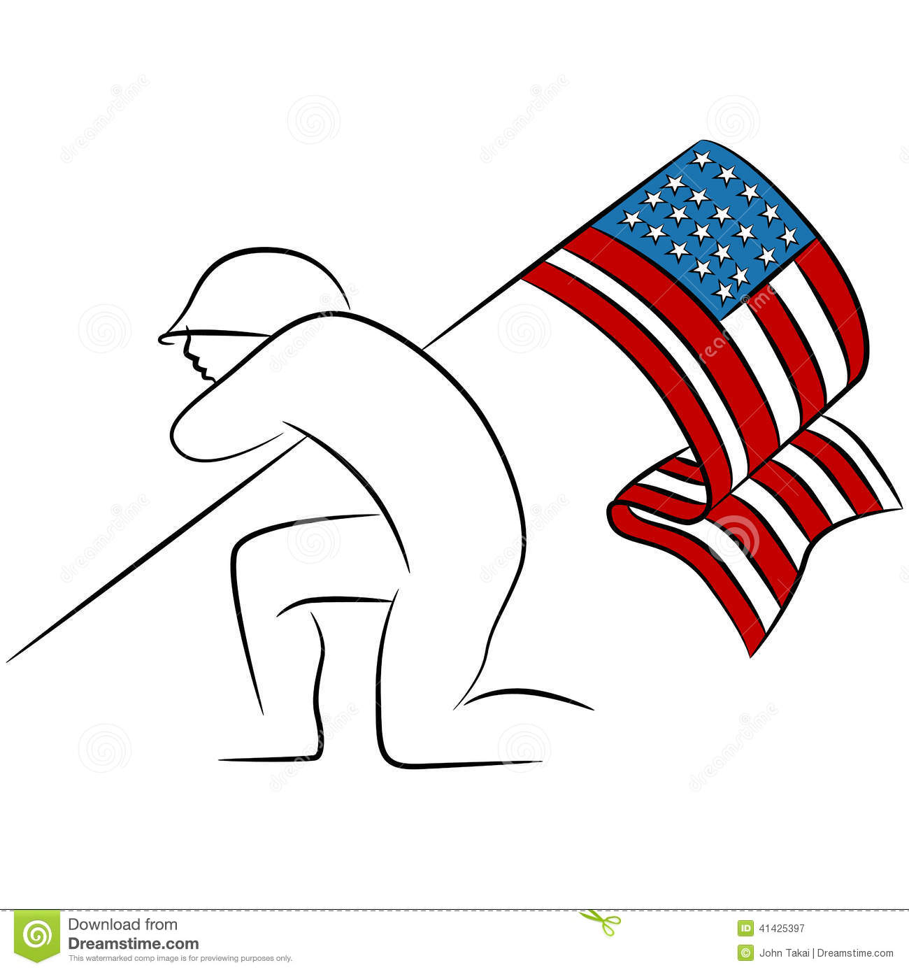 Soldier Holding American Flag Stock Vector Image 41425397