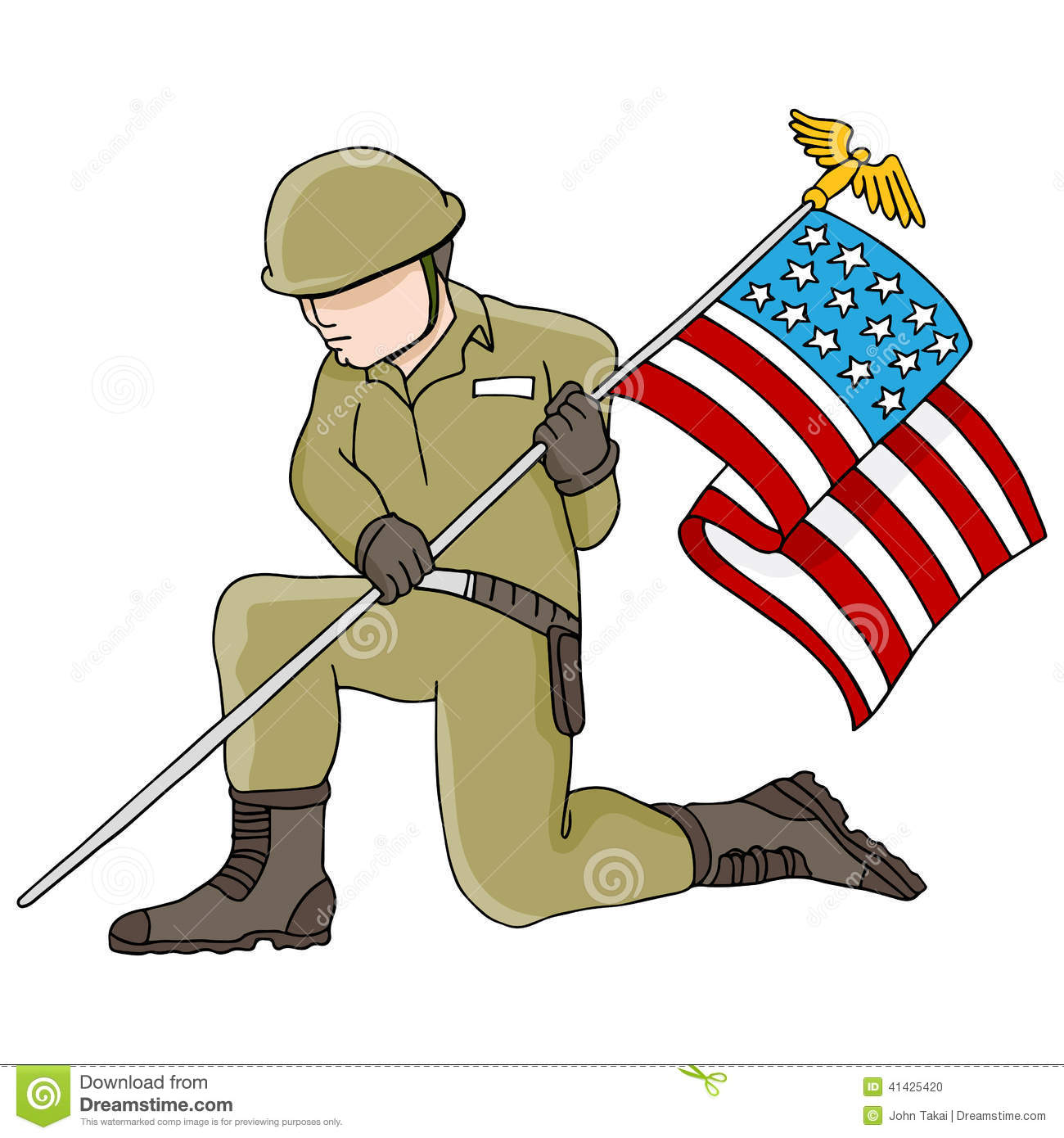 soldier holding american flag stock vector illustration American Flag Vector Free Clip Art American Flag Vector Free Clip Art