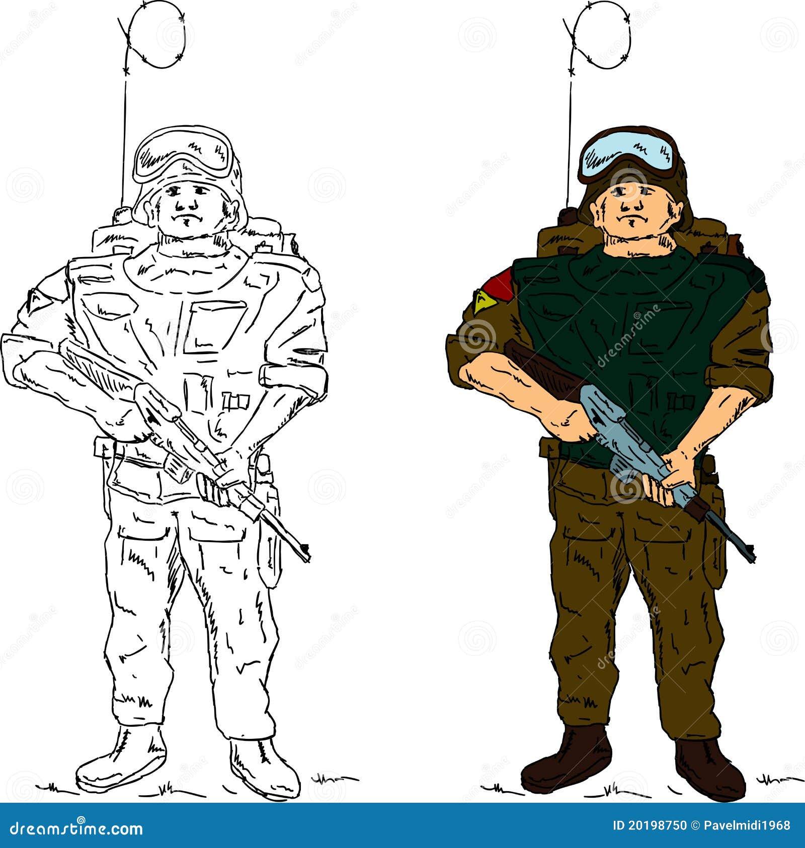 Фото как нарисовать военного