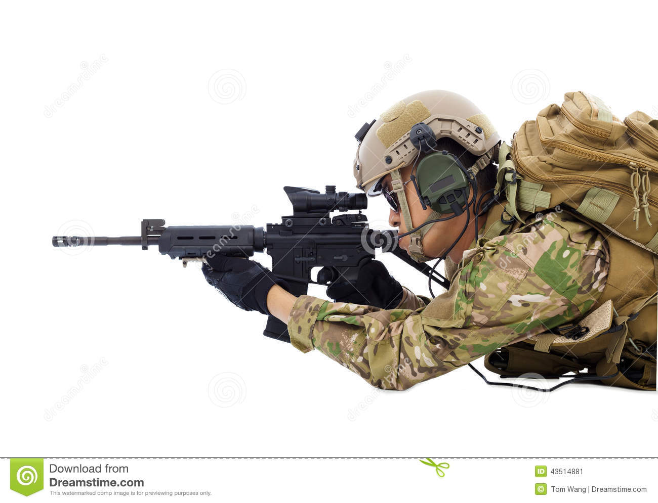 Soldier Holding Rifle Or Sniper Lying On The Floor Stock