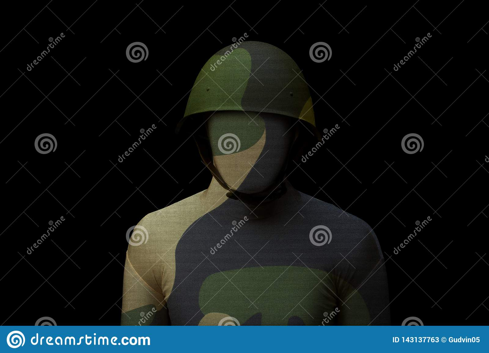 Soldier with jungle camouflage on black background