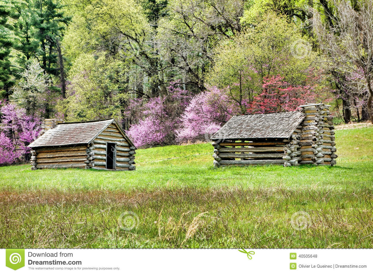 Soldier Log Cabins At Valley Forge National Park Stock