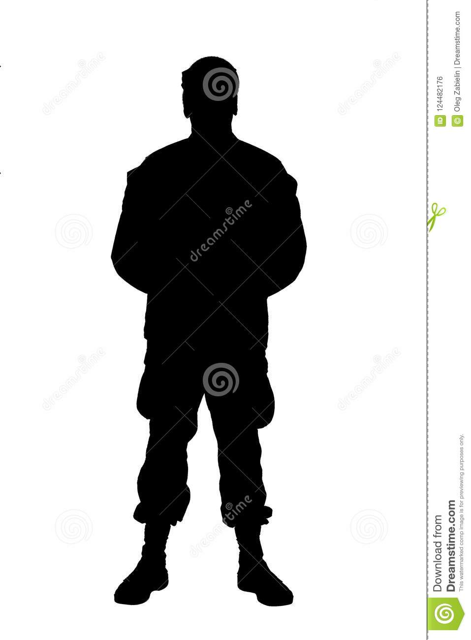Soldier in parade rest position front view shoot