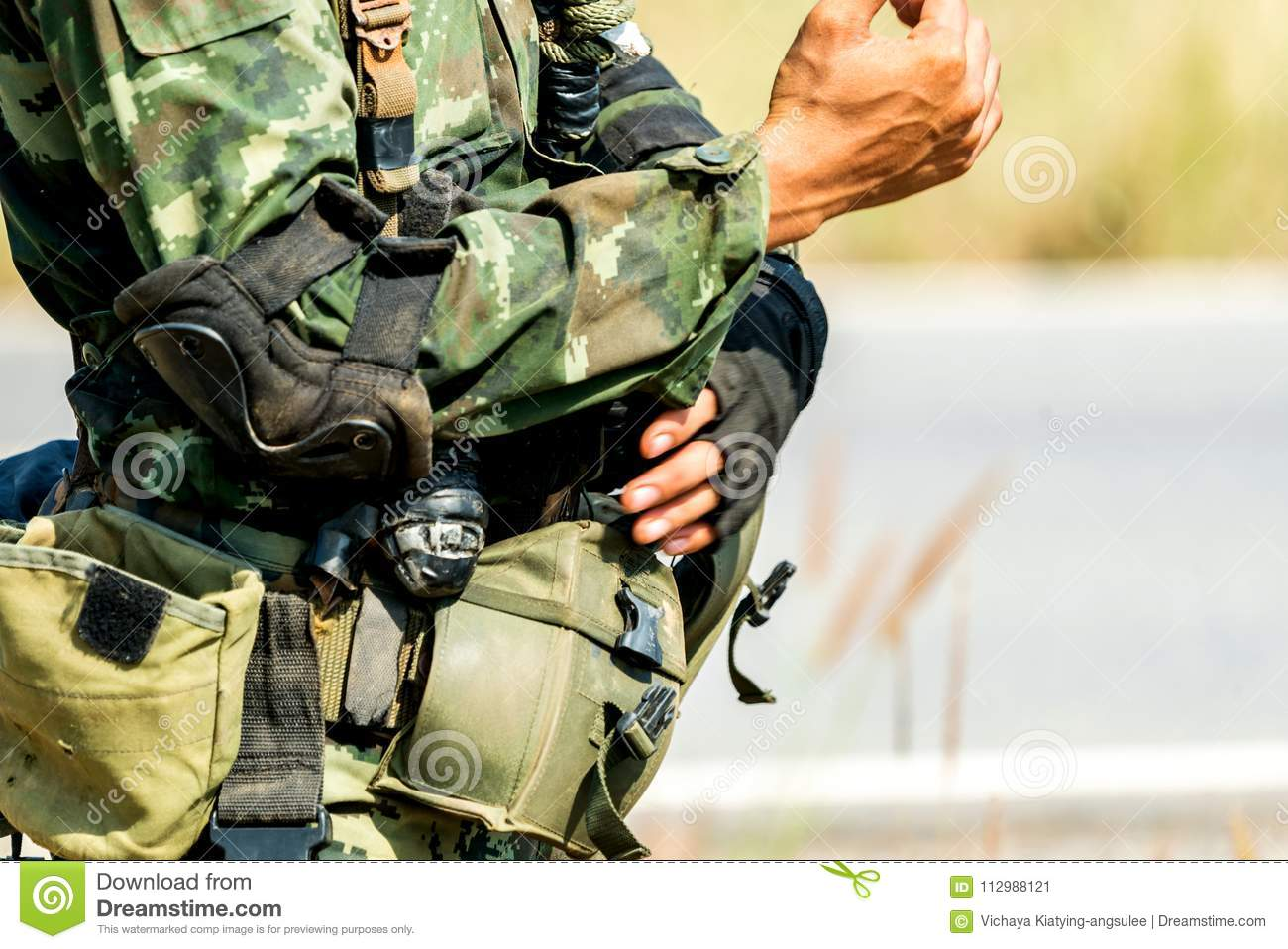 Soldier ready for war combat