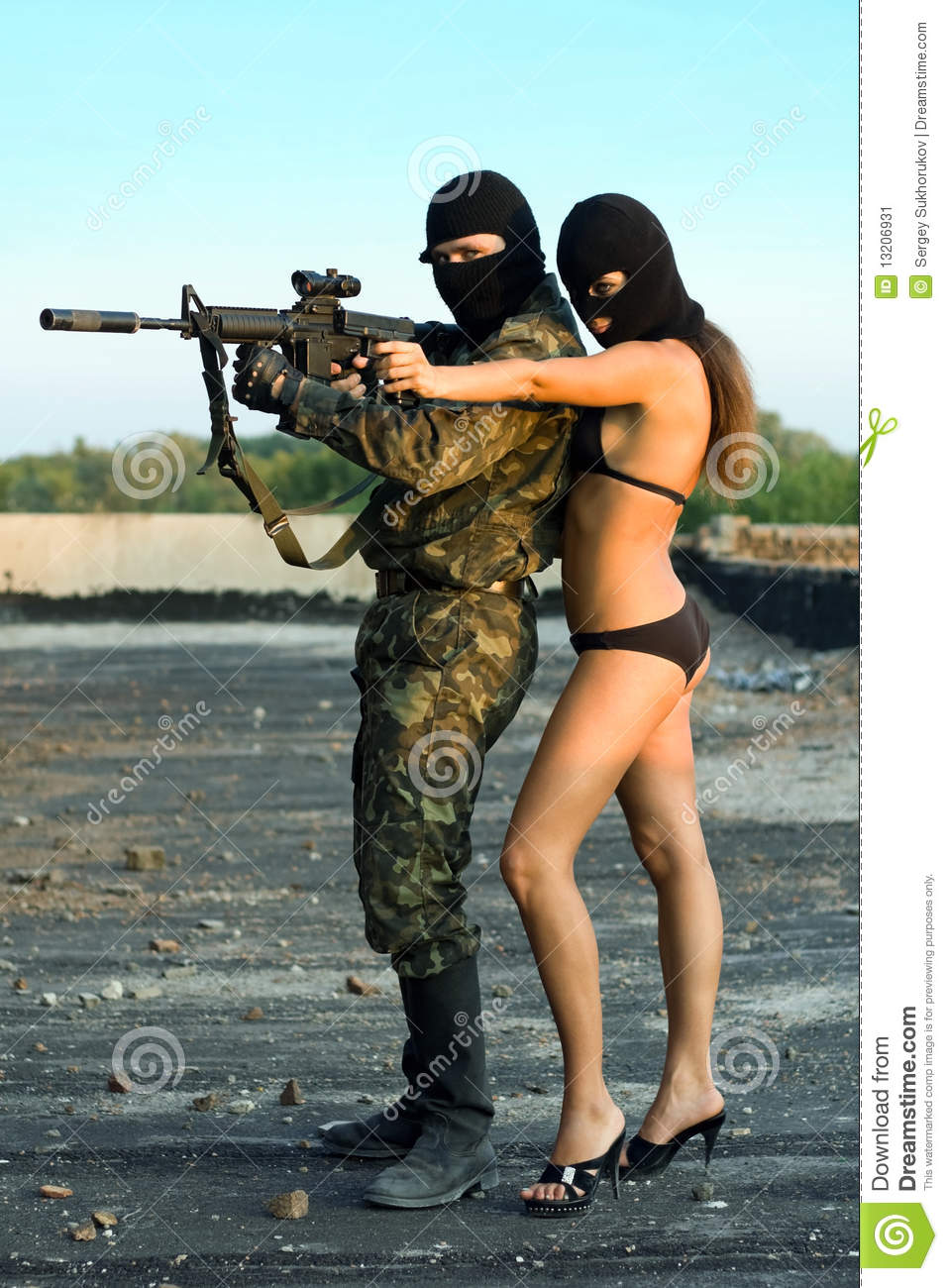 Naked female soldier