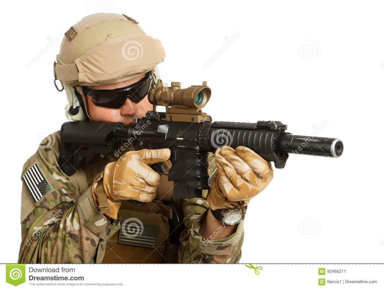 Soldier With Rifle On A White Background Stock Image