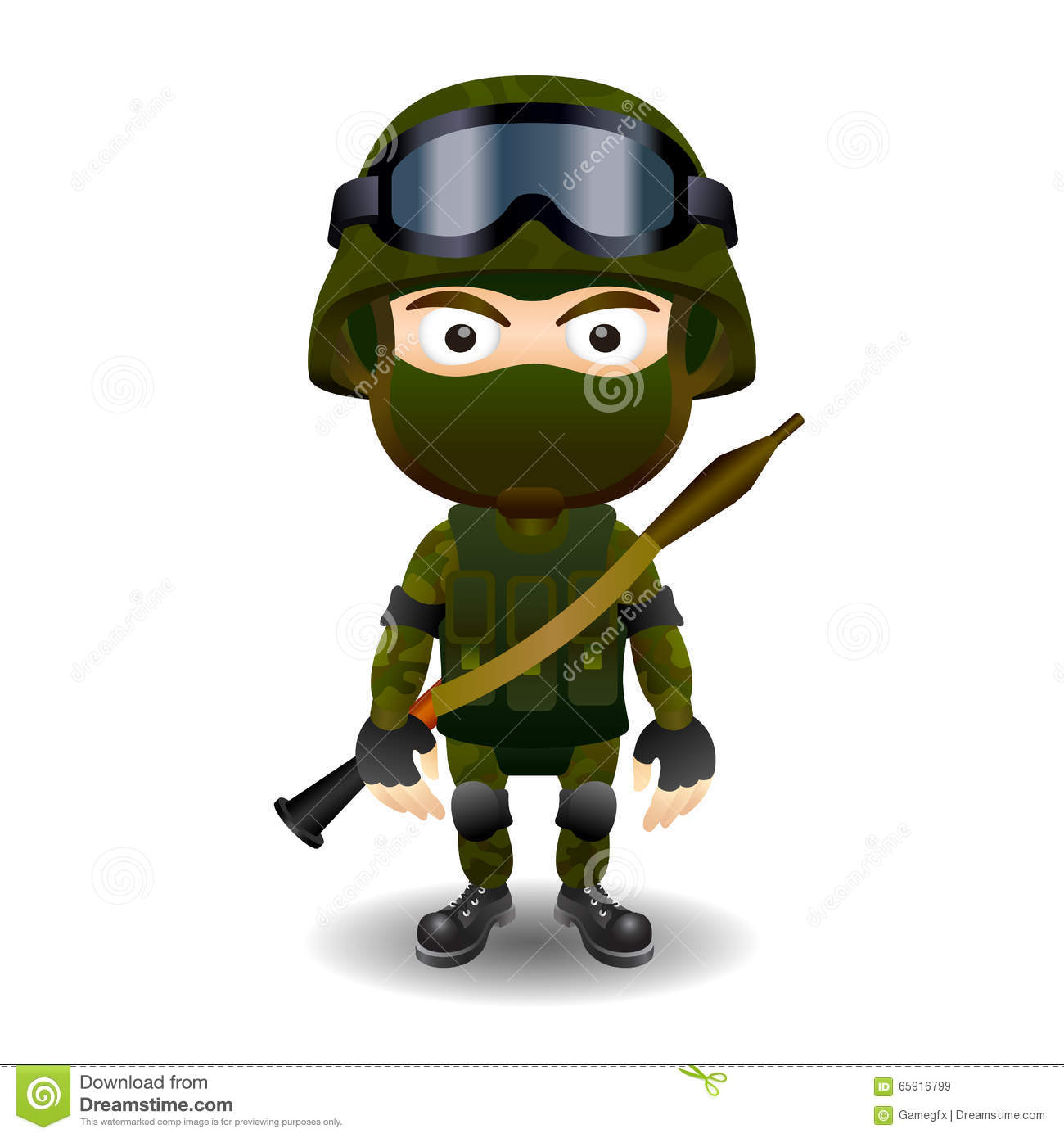 Soldier Rpg Military Character Combat Black Mask Male Stock Vector