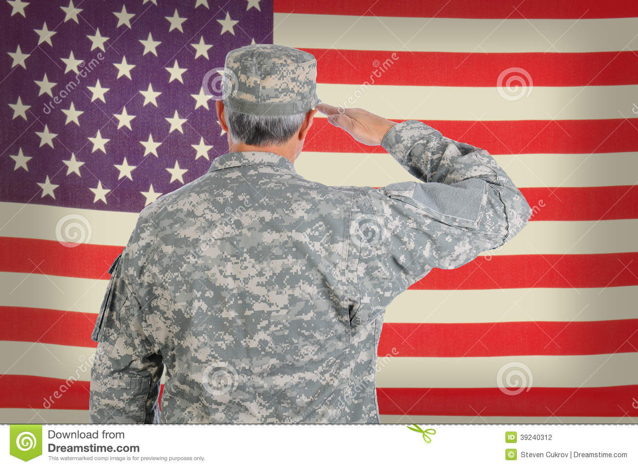 Soldier Saluting Old American Flag