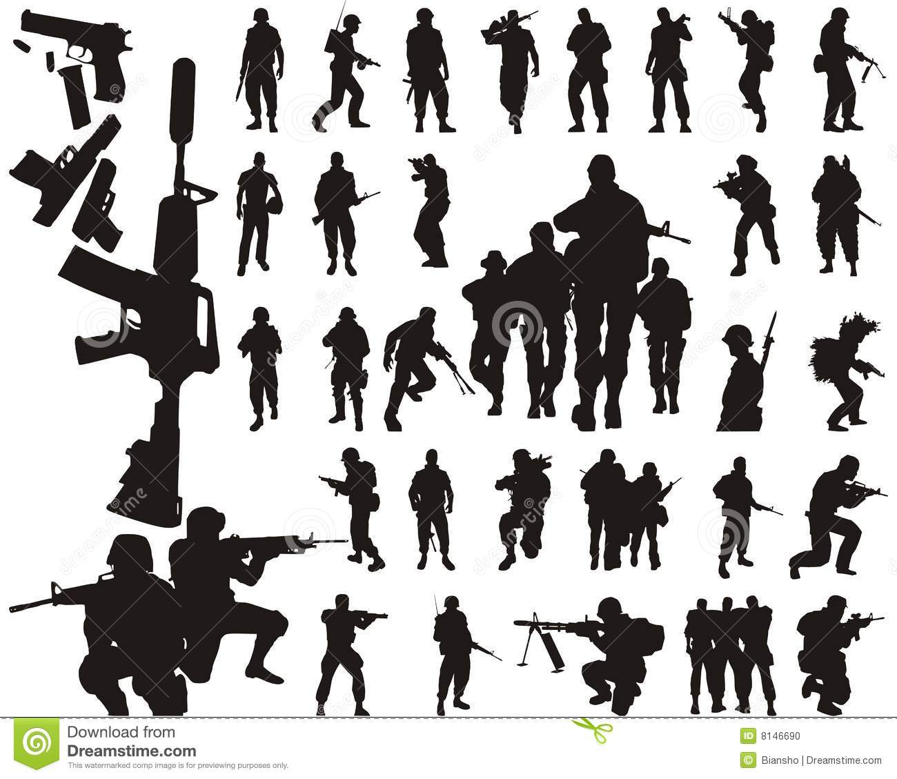 Soldier Silhouettes And Arms Stock Photo Image 8146690