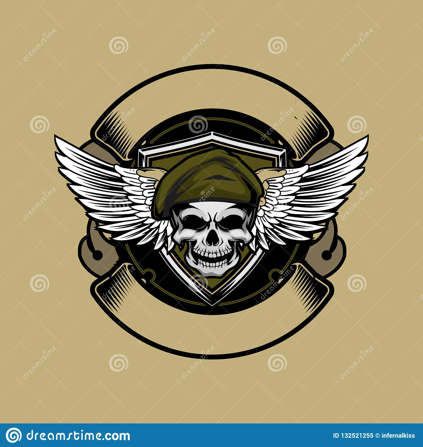 Soldier skull head with beret and wing vector ribbon logo round template