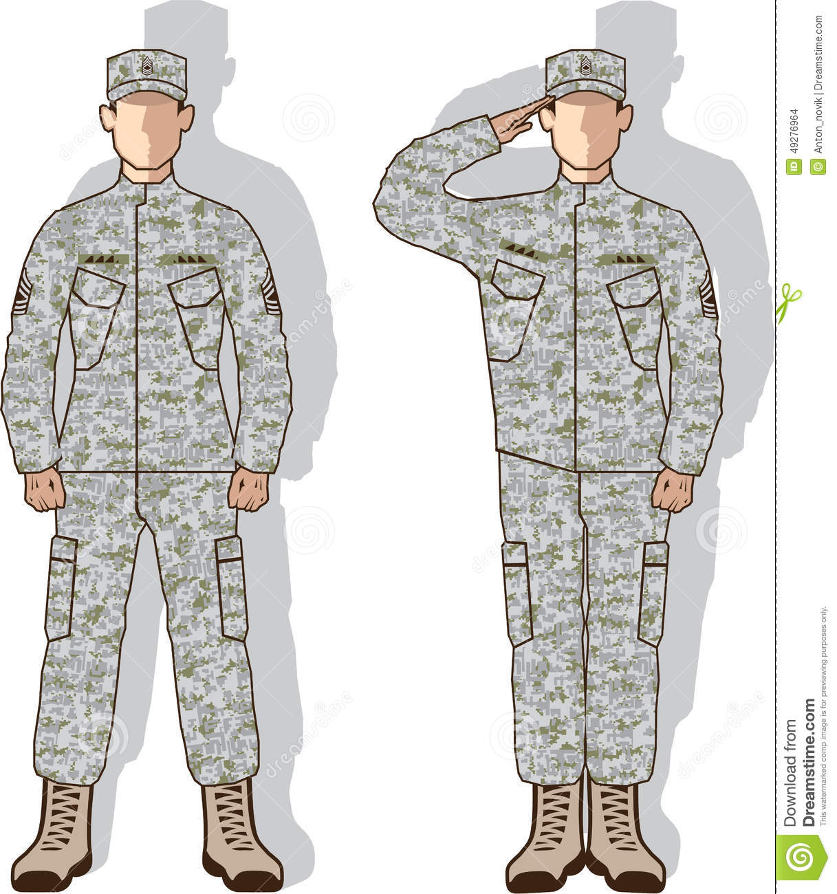 Soldier in uniform salute stock vector. Illustration of ...