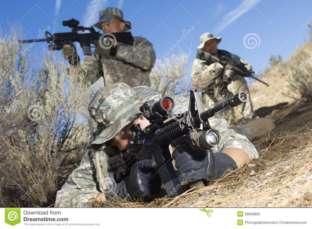 Soldiers Aiming Machine Guns Stock Image Image Of Male