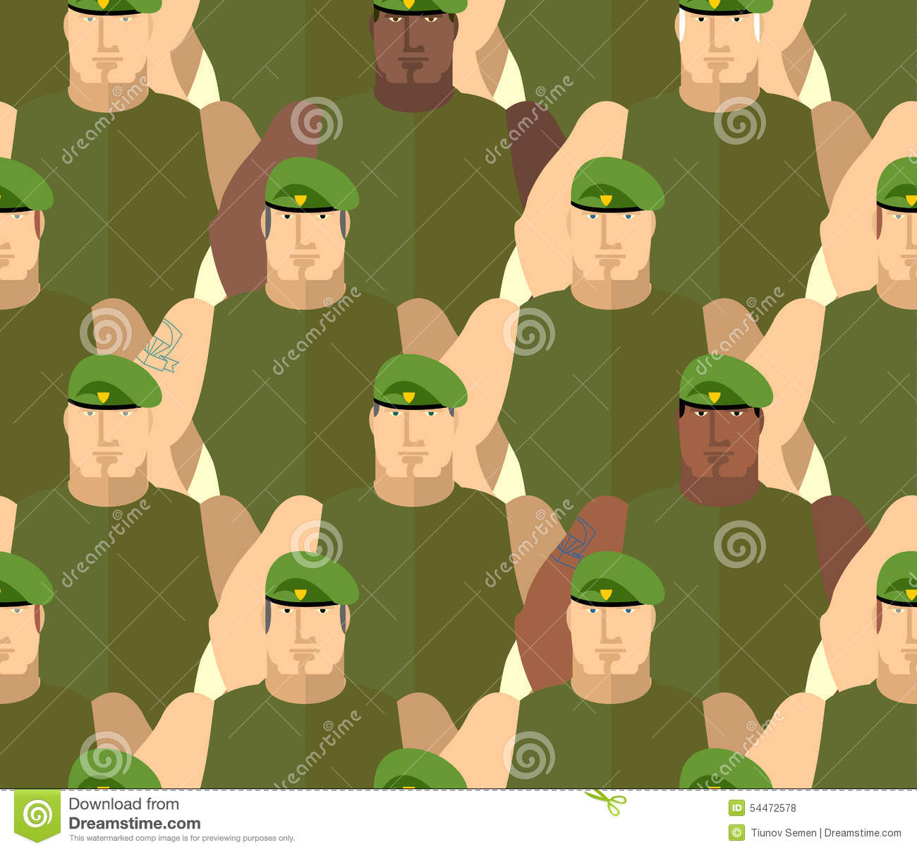 be6809e6978 Soldiers In Green Berets. Special Forces Stock Vector - Illustration ...