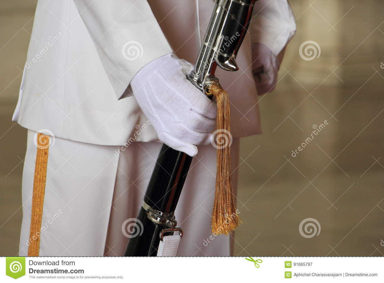 Soldiers with military bayonet gold tassel