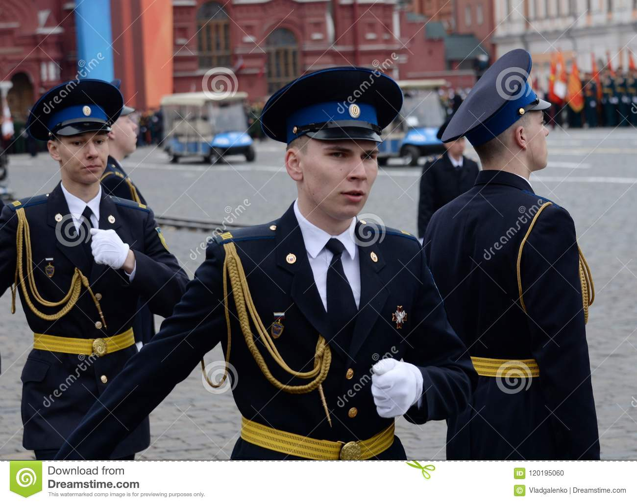 060a6382dcb Soldiers of the presidential regiment at the rehearsal of the military  parade on red square in Moscow.