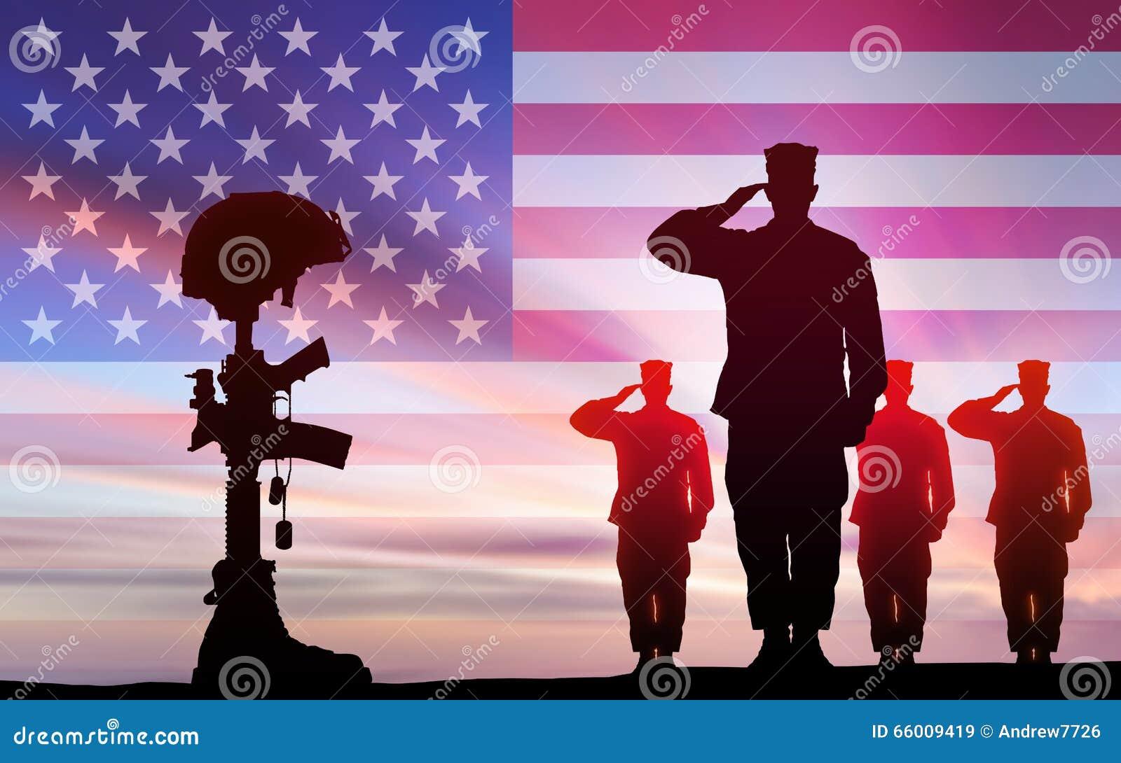 Soldiers Salute Fallen Comrade In Battle Stock