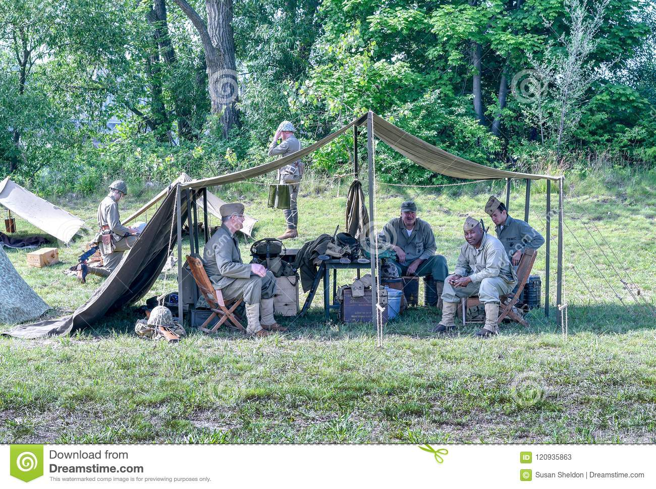 Soldiers In A Tent Wearing Vintage Korean War Uniforms Editorial