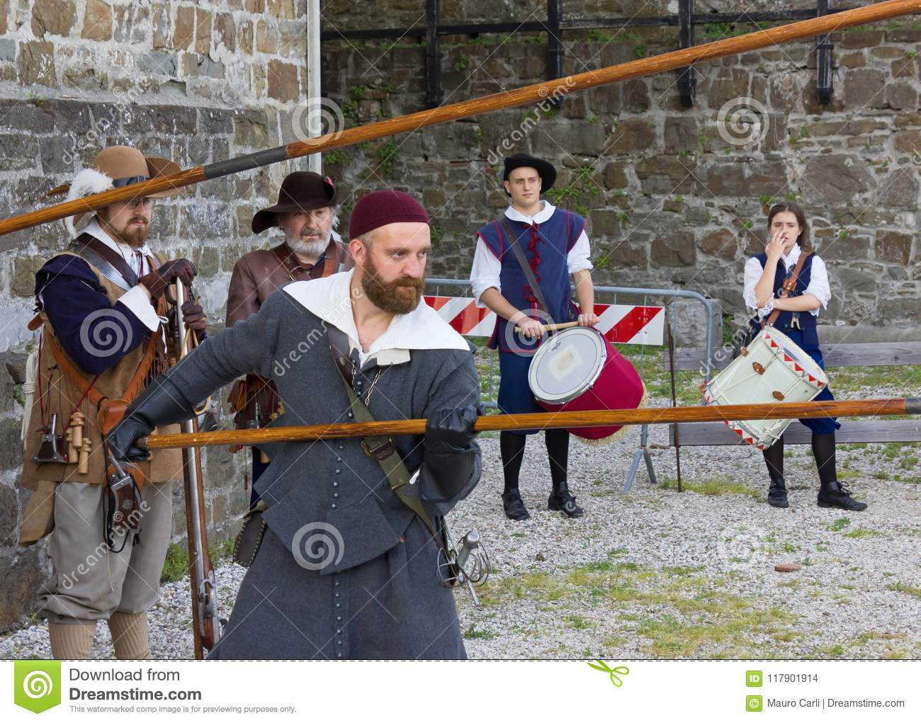 Soldiers of the Venetian Army at the Seventeenth Century Historical Reenactment in Gorizia