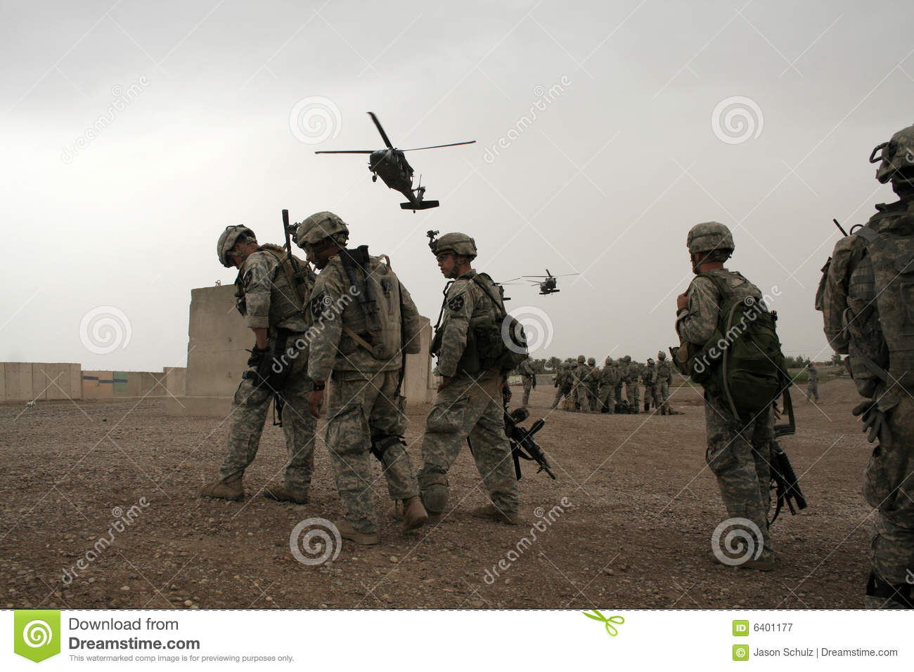 Soldiers wait for Helicopter in Iraq
