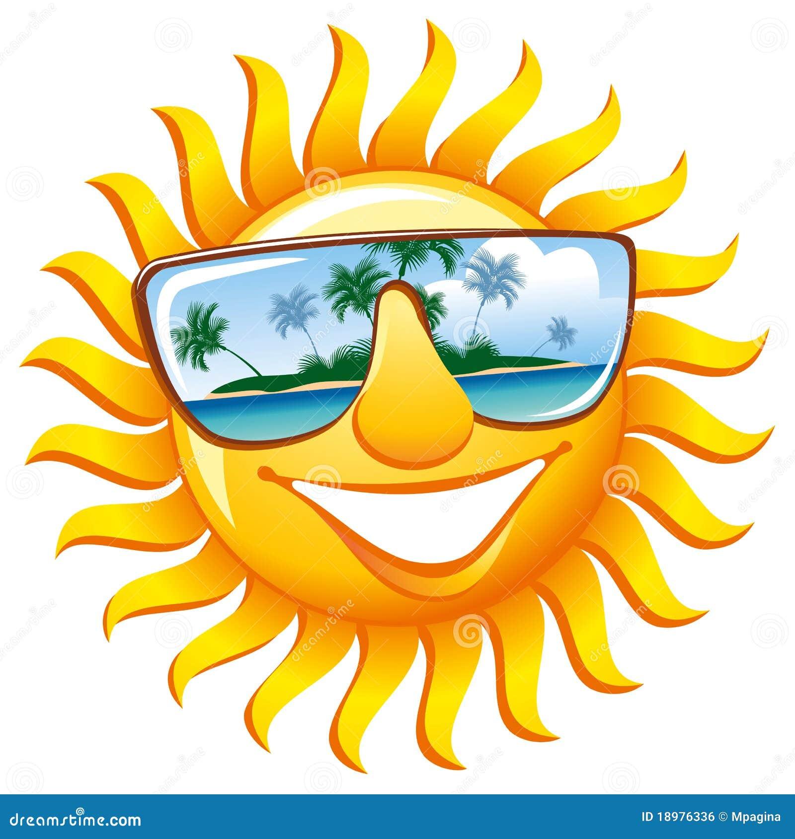 Sole allegro in occhiali da sole illustrazione vettoriale for Sole disegno da colorare