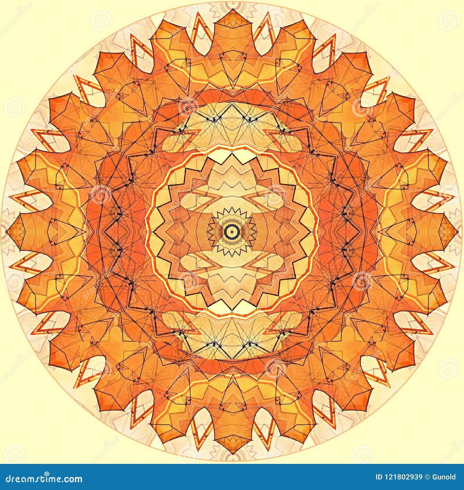 Sole arancio del modello senza cuciture di progettazione di arte di Digital su giallo
