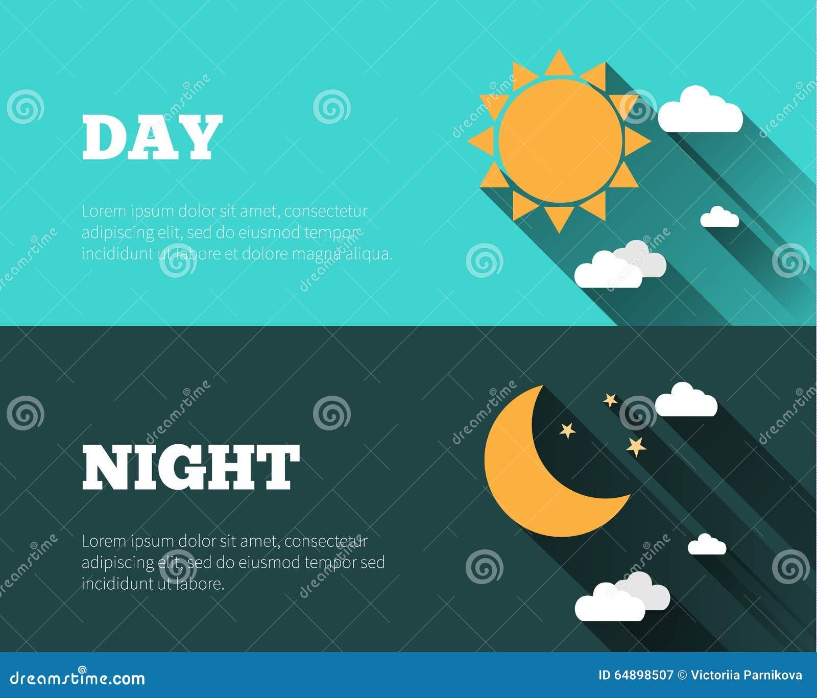 Solen måne och stjärnor, fördunklar symboler Dygnet runt himmelvektorbann