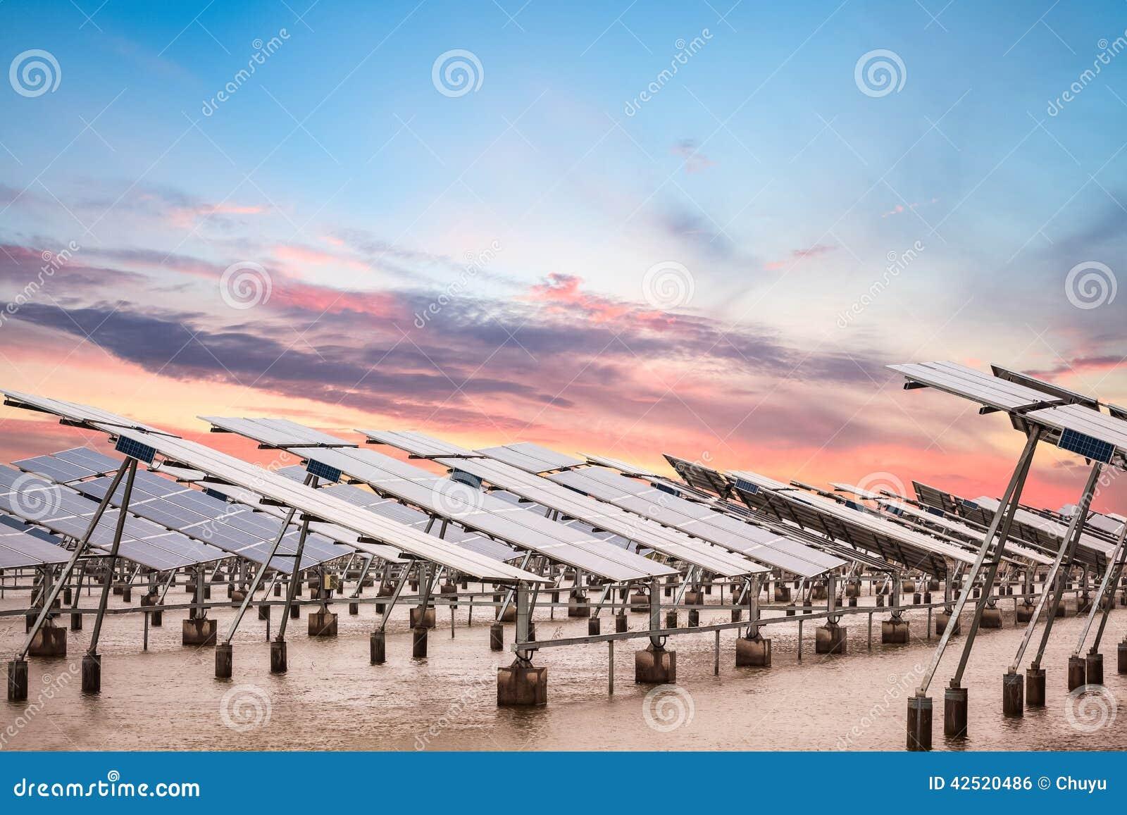 Solenergilantgård på skymning