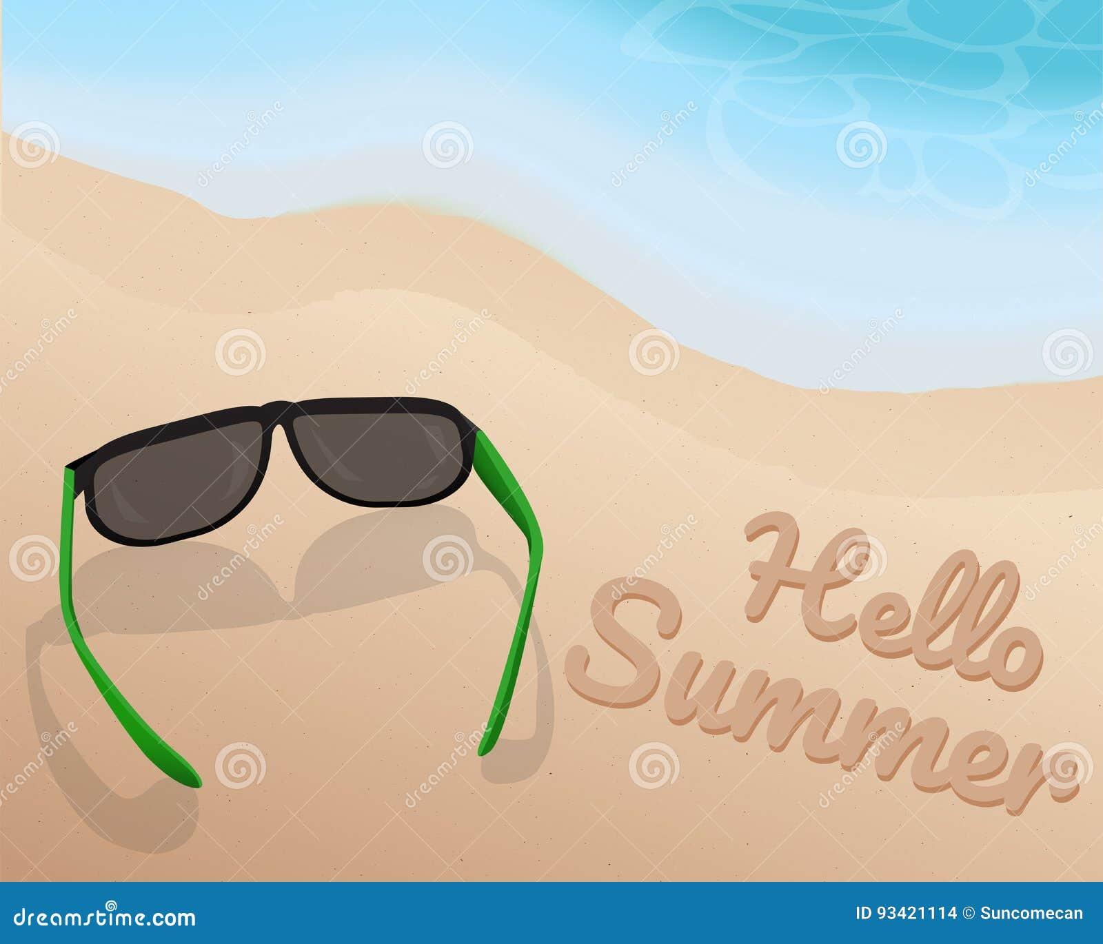Solglasögon Förlägger På Sand På Den Härliga Strand Och
