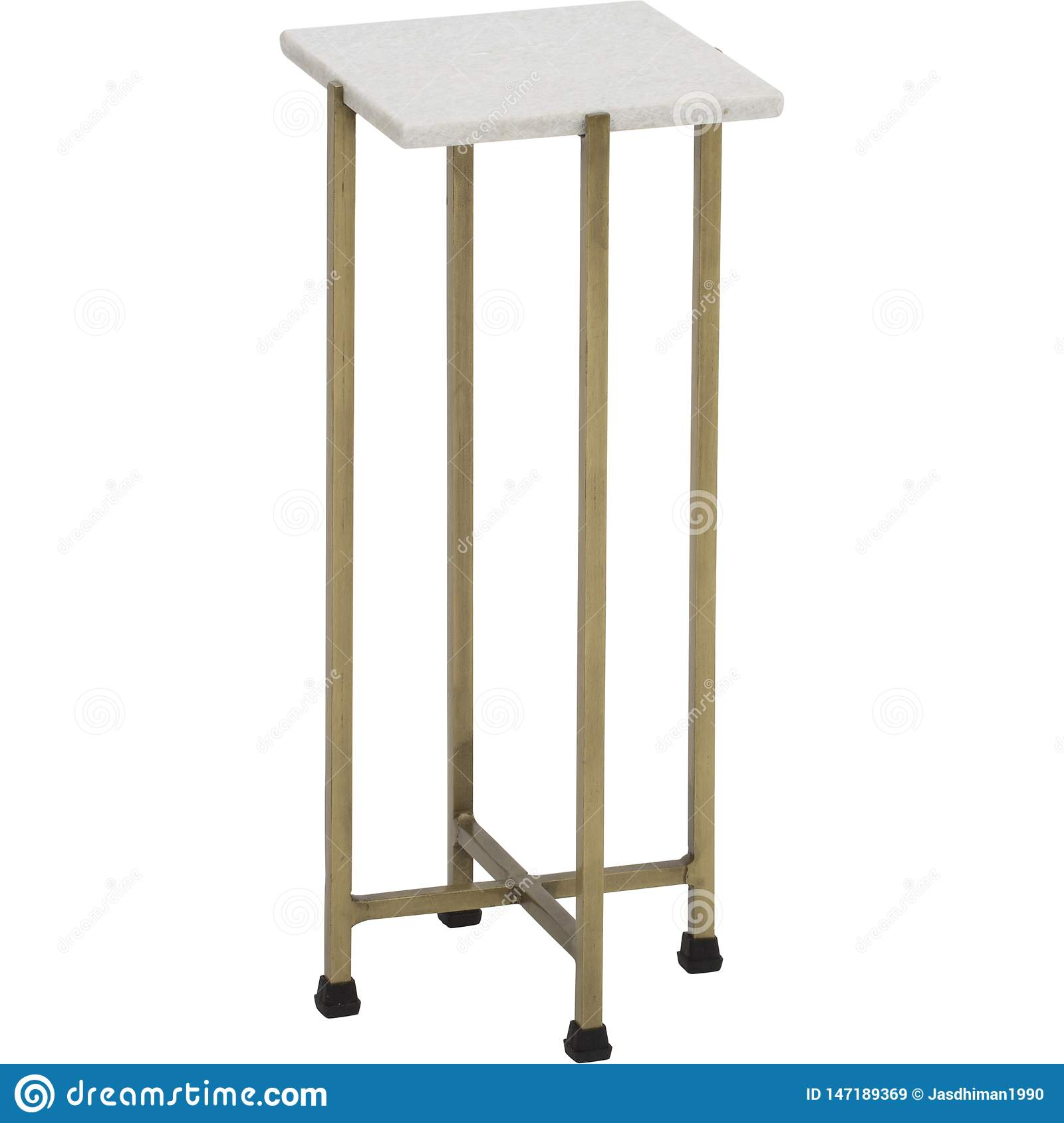 Solid Brass Tapered Leg Beveled Glass, End Table Side