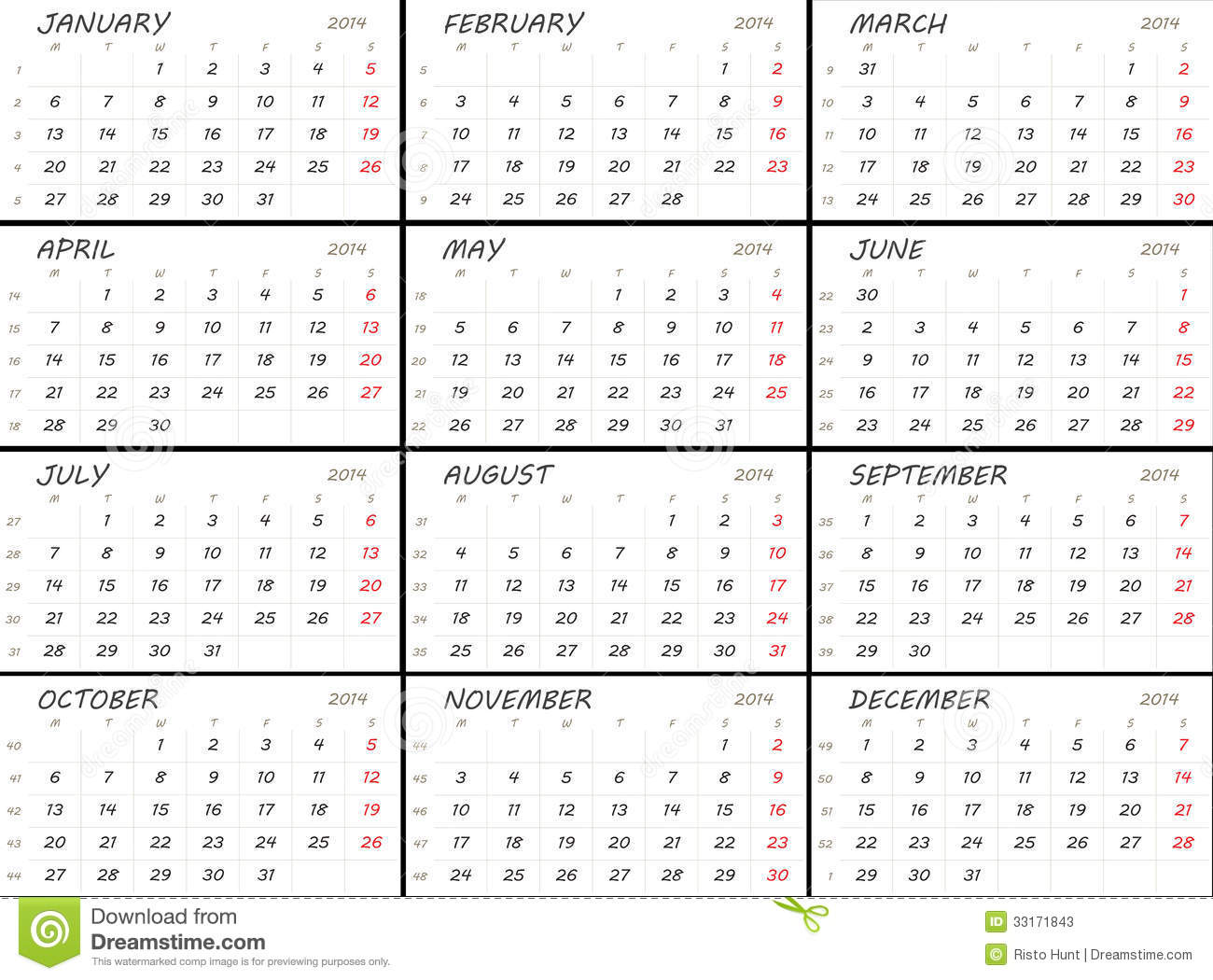 Solid 2014 Calendar Template Stock Photos - Image: 33171843