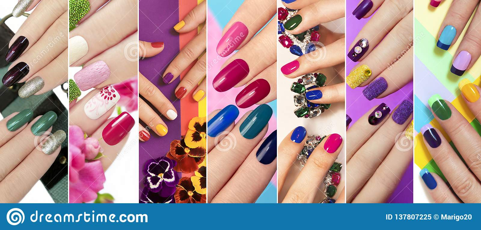 Solid Color Manicure With Bright Nail Polishes. Stock Image - Image ...