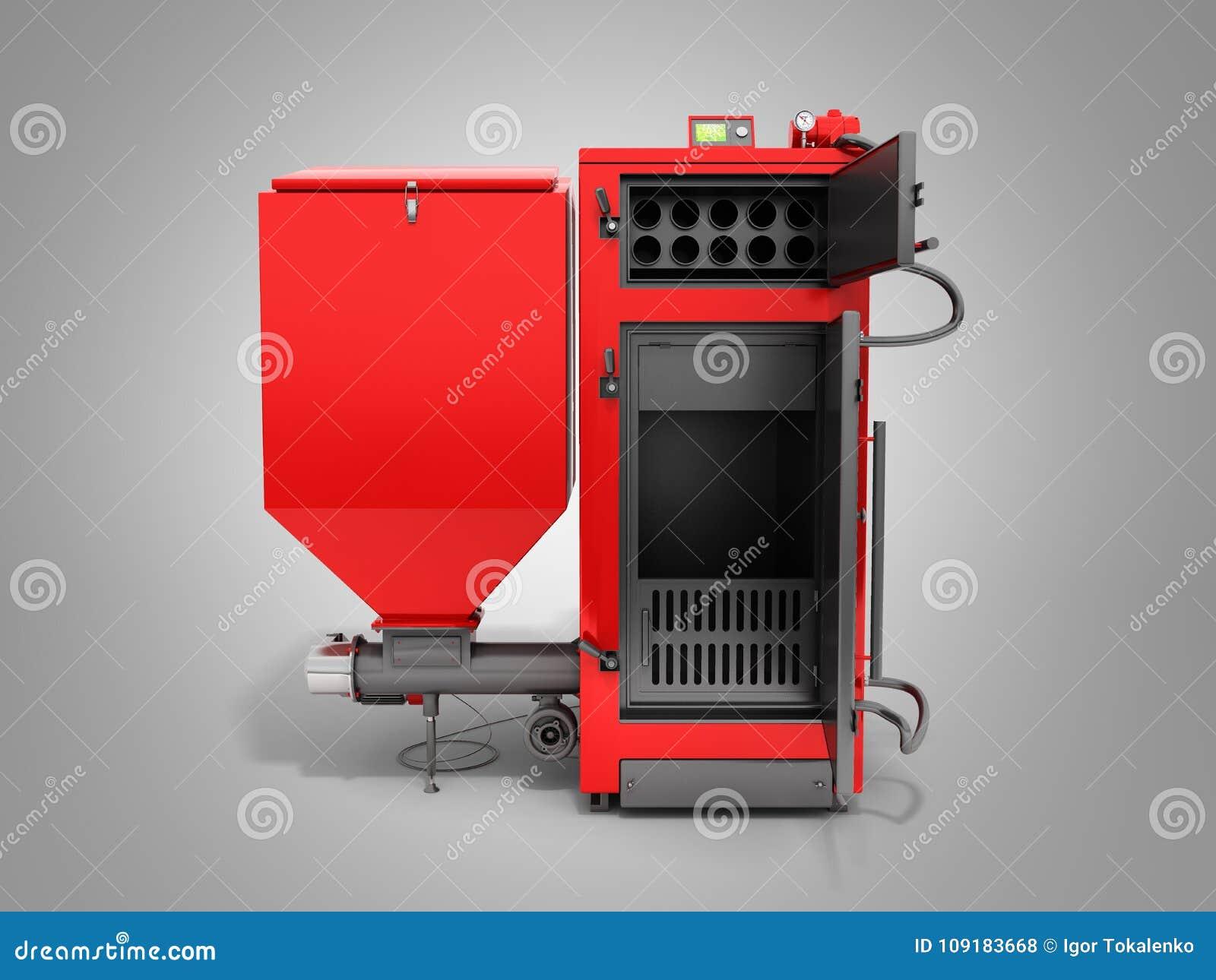 Solid fuel boiler 3D rendered image in grey