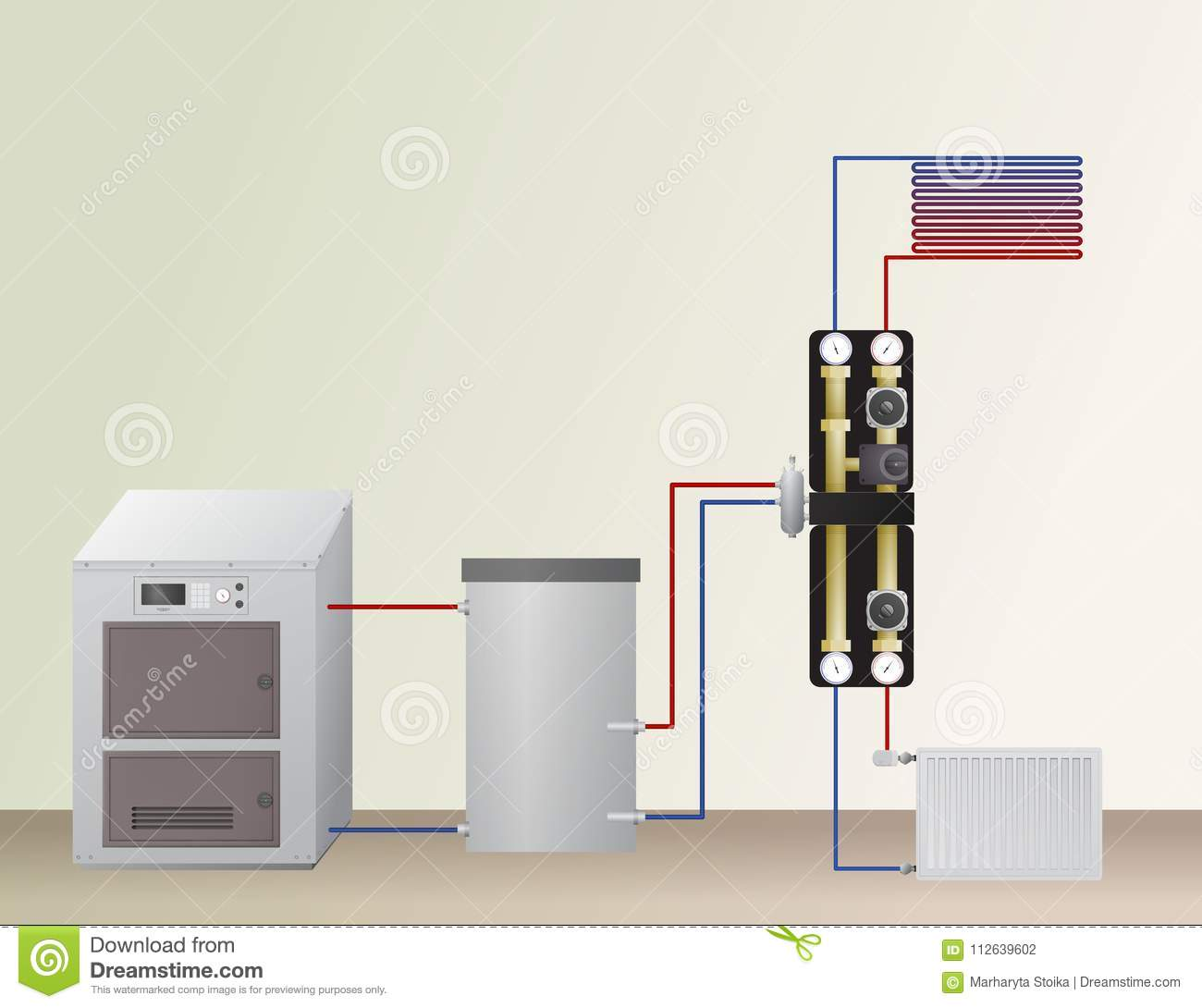 Solid Fuel Boiler In The Heating System. Stock Vector - Illustration ...