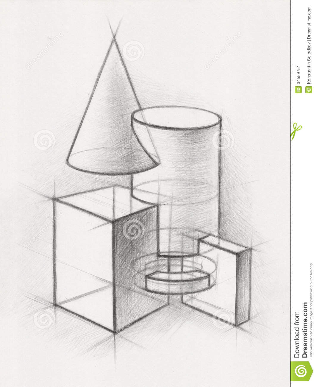 3d Shape Line Drawings : Solid geometric shapes stock illustration of