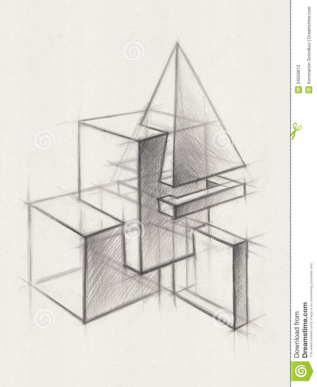 Solid Geometric Shapes stock illustration. Image of hand - 34559813 for 3d Geometric Shapes Drawings  29jwn