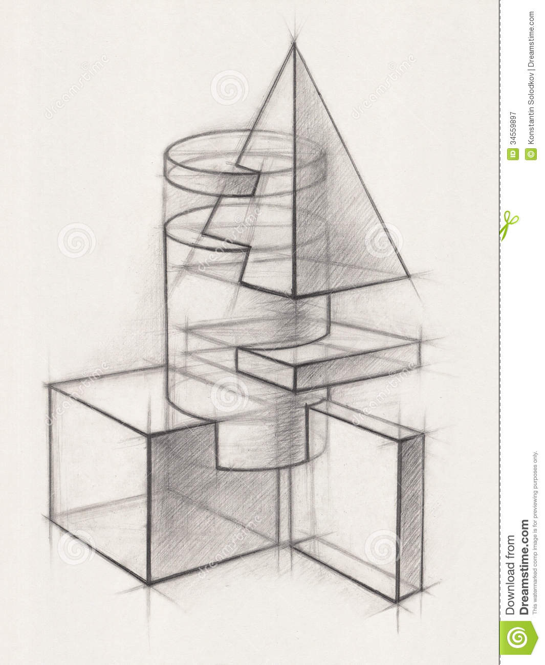 Solid geometric shapes stock illustration image of for Architecture geometrique