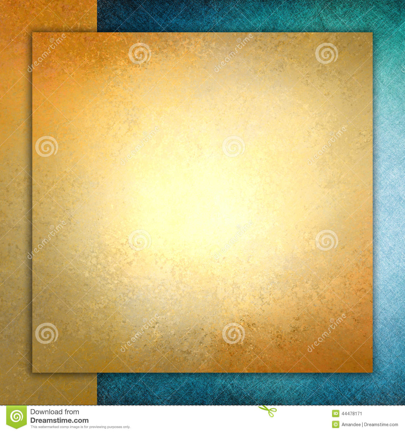 solid gold paper layered on blue and gold background square gold