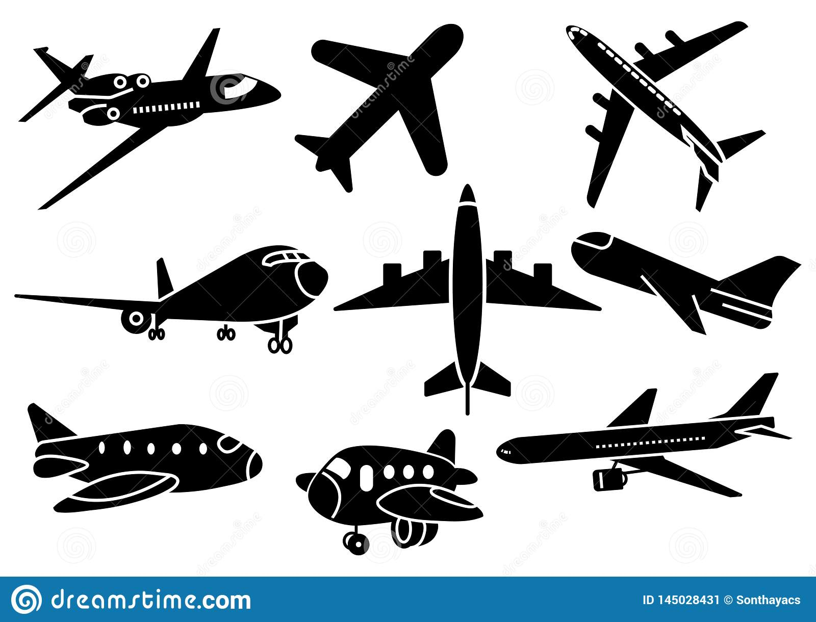 Solid icons Airplane set