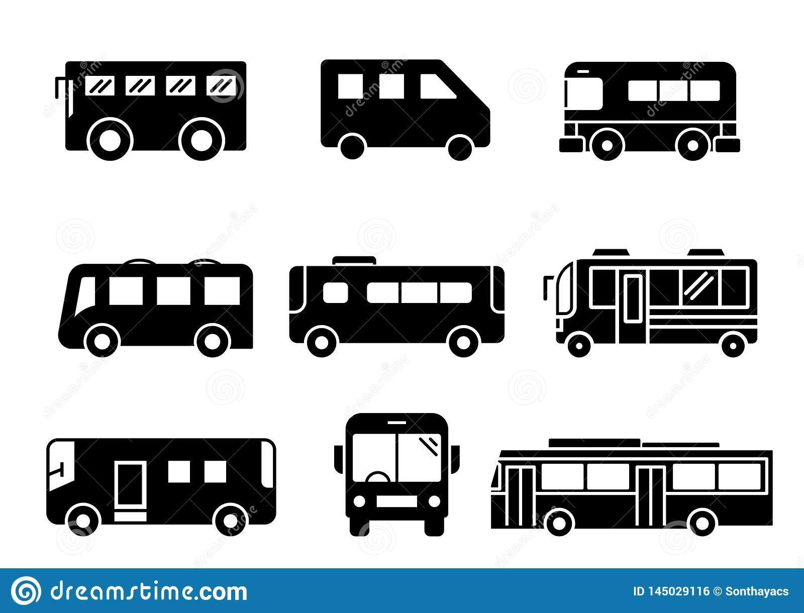 Solid icons Bus set