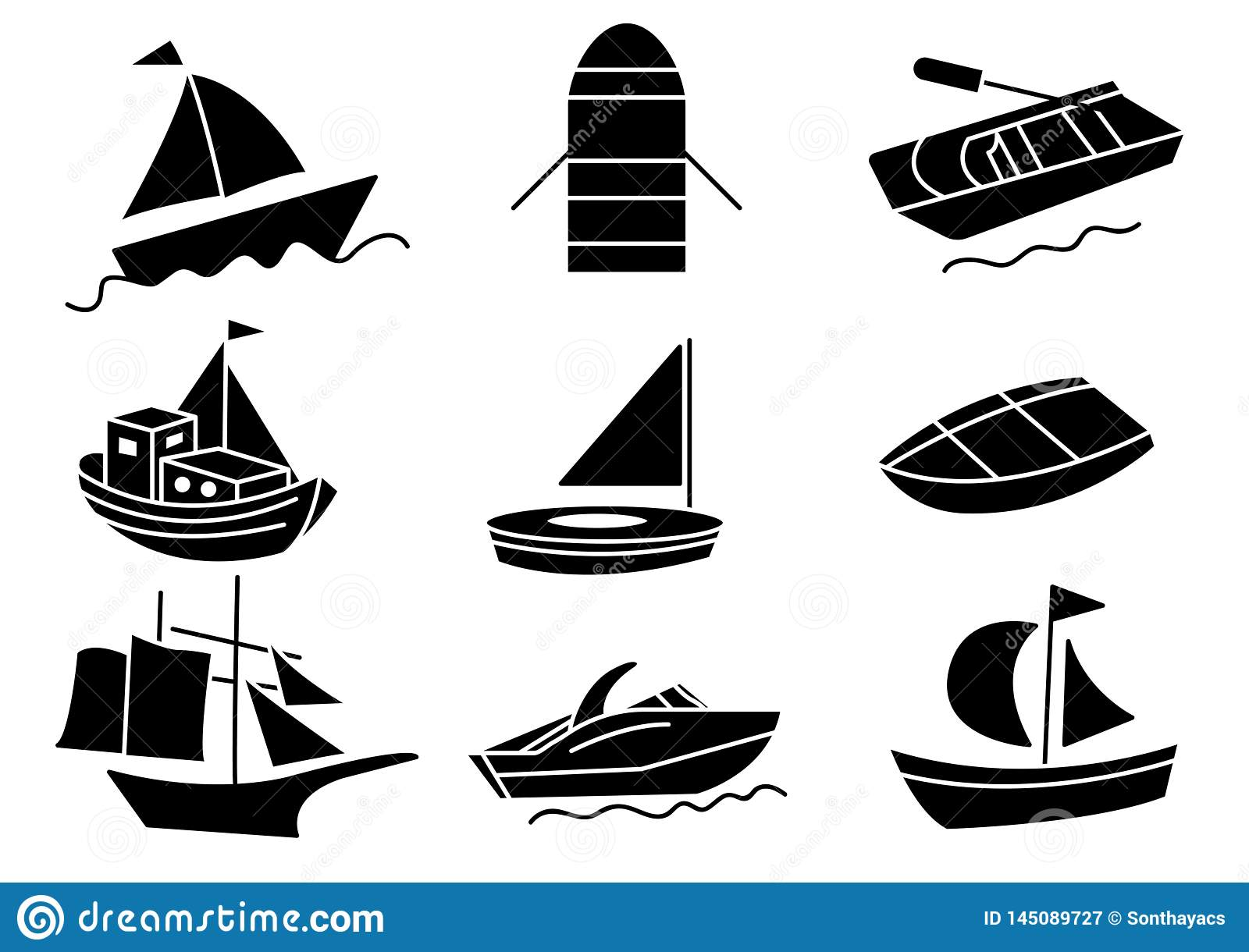 Solid icons Boat set
