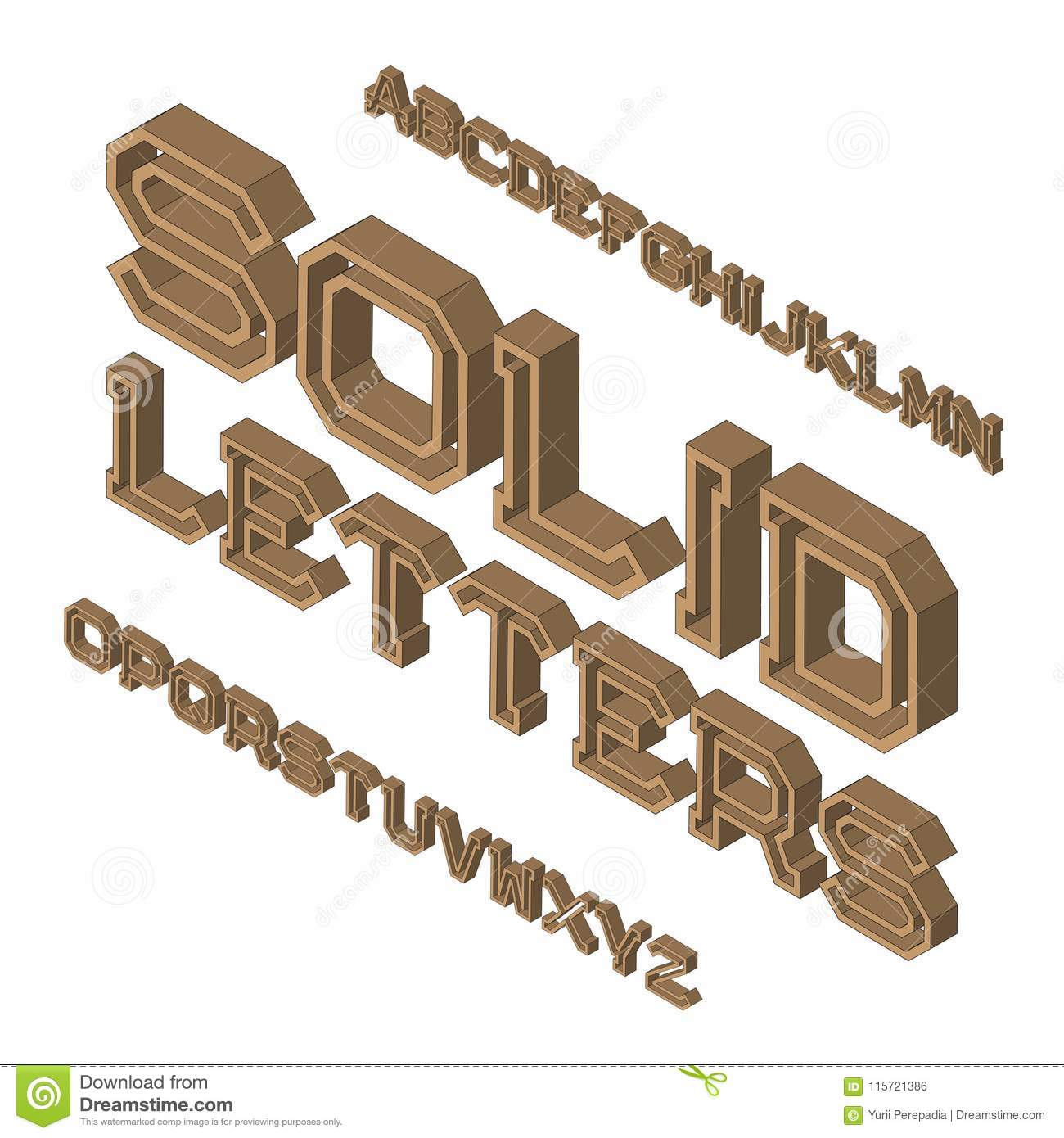 Solid Letters Typeface. Isometric Font. Isolated English ...