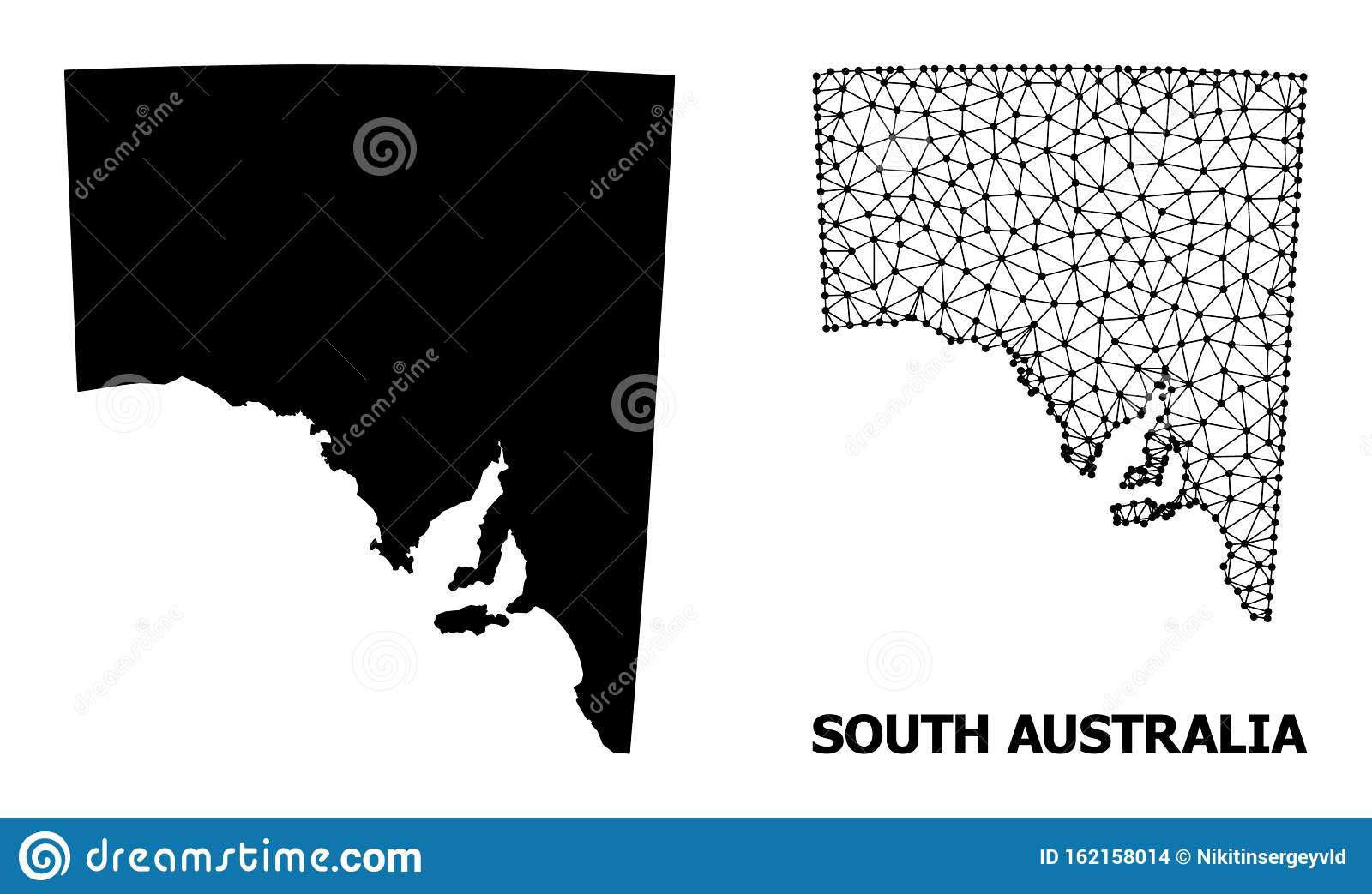 Solid And Network Map Of South Australia Stock Vector