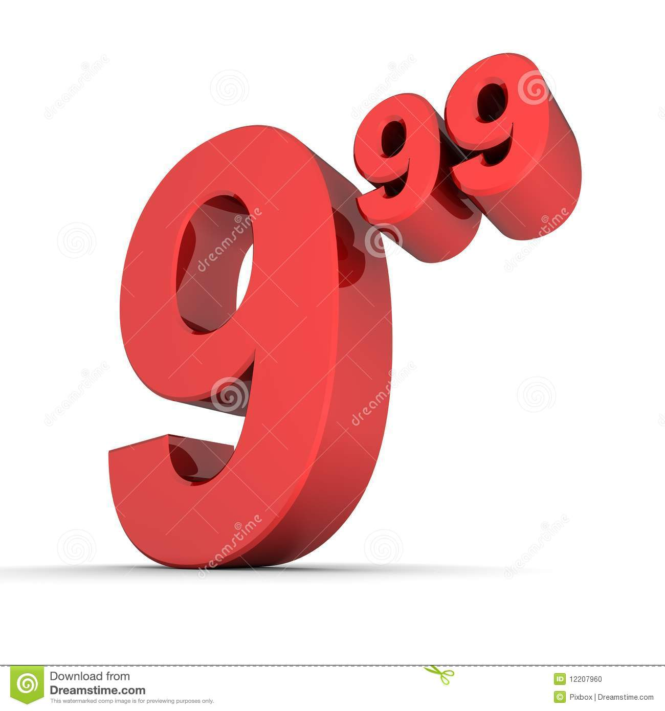 More similar stock images of ` Solid Price Tag Number 9.99 - Shiny Red ...
