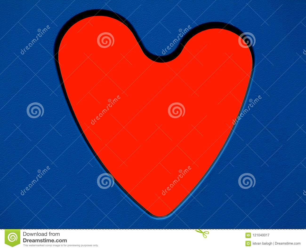 Red Heart Symbol In Blue Cut Out Toy Side Panel Stock Image Image