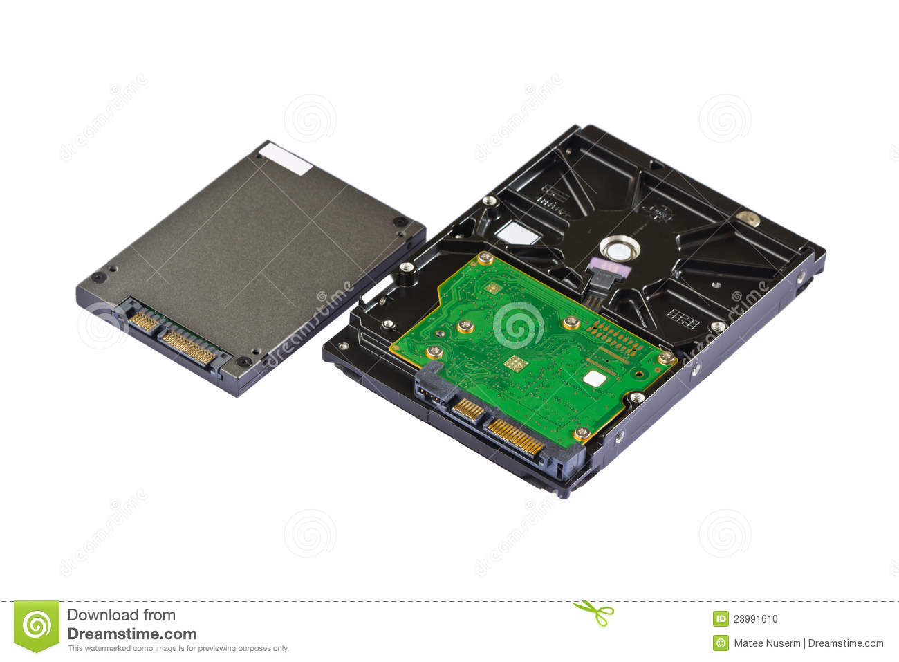 solid state drive  ssd  and hard disk drive  hdd  stock