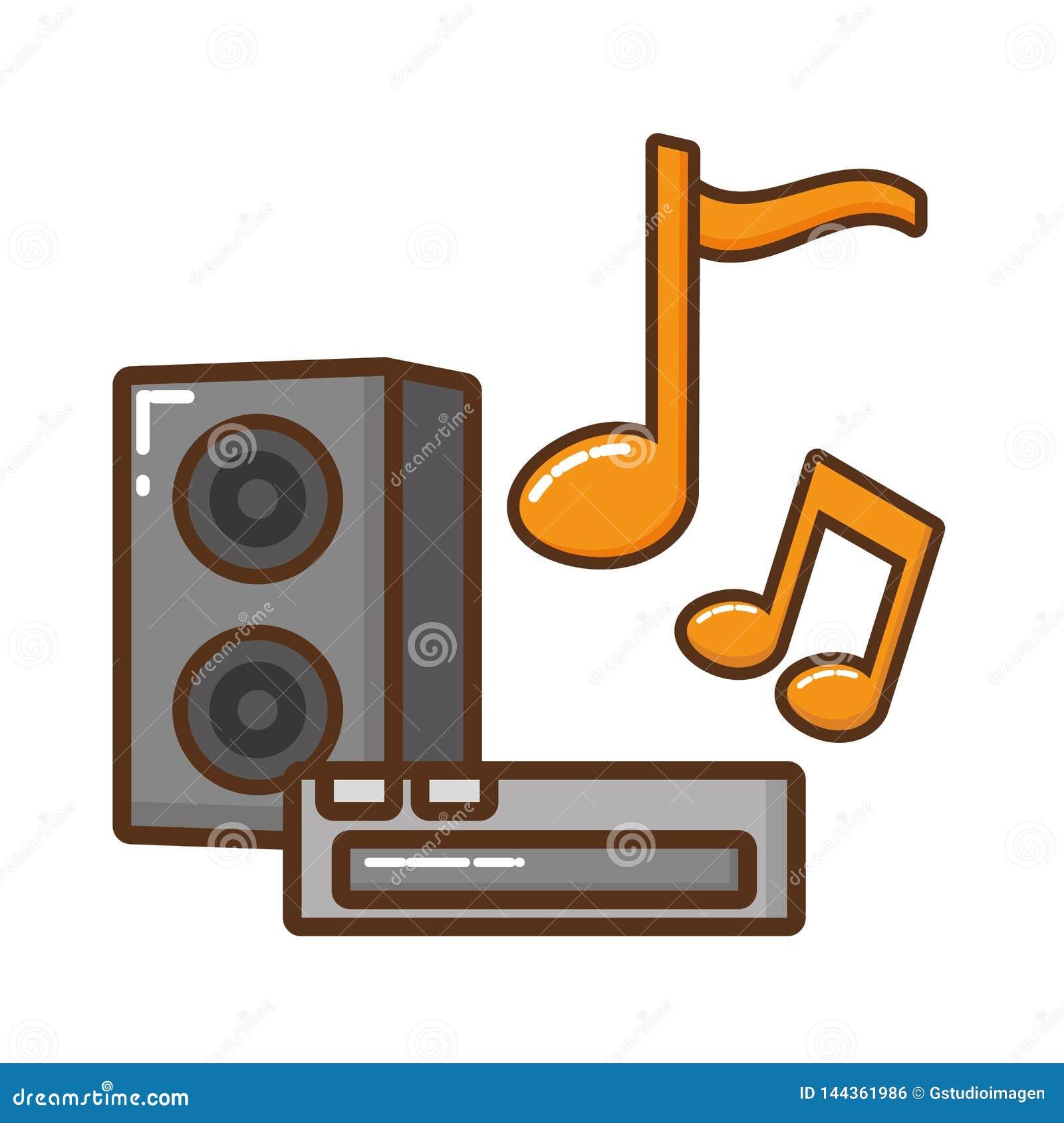 Solid utrustning med symbolen för musikaliska anmärkningar
